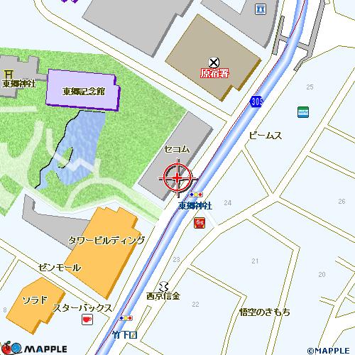 地図が表示されない場合は[元の位置]ボタンを押してください。